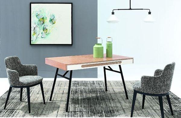 【南洋風休閒傢俱】餐桌椅組-瑞奇4.5尺實木餐桌 布蘭達布餐椅 一桌四椅 JX225-1 247-7