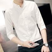 (快出)男士七分袖襯衫薄款韓版修身潮流休閒發型師白色短袖襯衣男