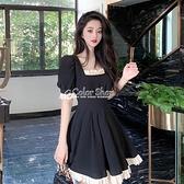 法式蕾絲方領短袖洋裝2010新款夏季小眾氣質收腰顯瘦復古裙子女 母親節特惠
