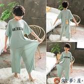 男童家居服套裝夏季裝薄款兒童睡衣中大童男孩空調服【淘夢屋】
