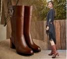 2018秋冬新款全牛皮粗跟英倫風高跟中筒靴女鞋真皮中長靴女靴子 歐亞時尚