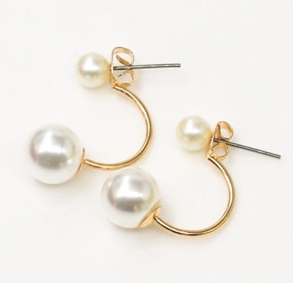 韓國 明星 首飾 雙貝珠 耳釘 珍珠 耳環 韓版 經典款