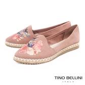 Tino Bellini 巴西進口花鳥蝶舞電繡麻編休閒鞋 _ 粉 B83235 歐洲進口款