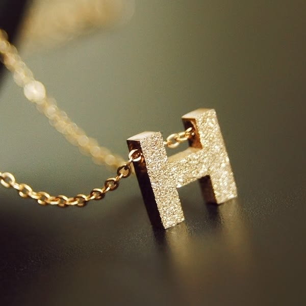 star 鈦鋼系列-簡約磨砂H字母項鏈-生日情人節禮物-B53