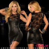 情趣用品 虐戀精品 高貴典雅 網紗美背 塗膠漆皮性感彈力緊身裙-黑 + 潤滑液2包