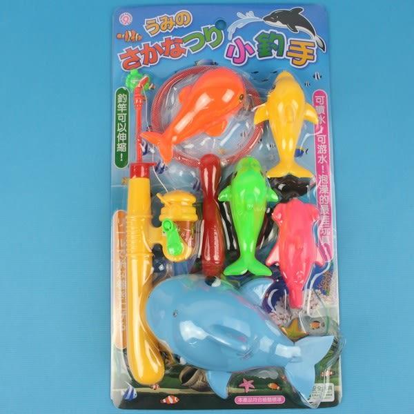 日系釣釣樂 D610 鯨魚會噴水 釣魚組 戲水童玩(7件組入)/一卡入{促199}~生ST026