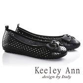 ★零碼出清★Keeley Ann俏皮洞洞蝴蝶結OL真皮平底娃娃鞋(黑色)