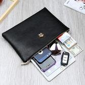 新款手包男潮真皮大容量韓版時尚手抓包軟夾包休閒信封男士手拿包·享家生活館