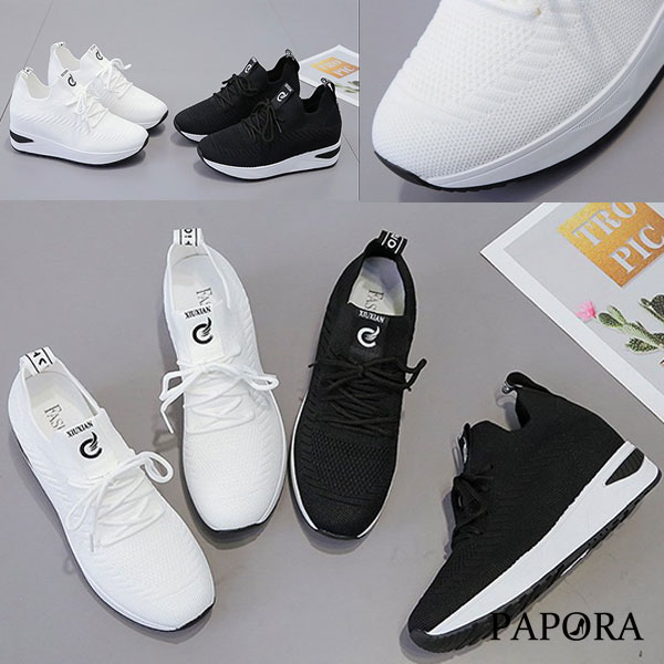 透氣挷帶內增高厚底休閒懶人老爹鞋布鞋KF-15黑白PAPORA