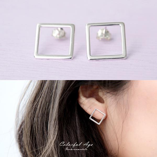 925純銀鏤空正方形耳針耳環【NPD104】