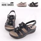 [Here Shoes]前2後3.5cm涼鞋 皮革花朵 圓頭楔型厚底 扣帶涼拖鞋 防水台 MIT台灣製-AN507