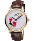 Ogival 愛其華 花繪經典彩繪機械腕錶-玫塊金框 1929-24.8AGR皮