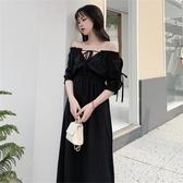 春秋裙子法式赫本風一字肩復古收腰顯瘦氣質黑色洋裝女夏 極有家
