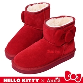 HELLO KITTY X Ann'S側邊立體澎澎大蝴蝶結短筒真皮雪靴-紅