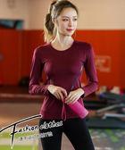 秋冬新款錦綸運動上衣女長袖顯瘦瑜伽服健身房跑步健身T恤速干衣 艾尚旗艦店