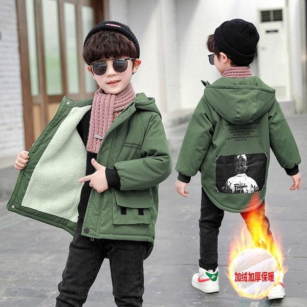 秋冬印花風衣棉衣 潮流中大童韓版外套羽絨服 加絨夾克外套兒童棉服 男孩羽絨外套男童外套
