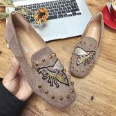 單鞋 社會豆豆鞋女春季韓版百搭時髦辣媽網紅同款快手紅人單鞋 免運直出 交換禮物