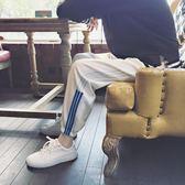 韓版夏季男嘻哈同款條紋休閒褲寬鬆青年男士街頭運動小腳哈倫褲潮     米娜小鋪
