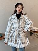 秋冬2020新款小香名媛氣質格子收腰顯瘦POLO領長袖毛呢外套女大衣