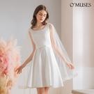 OMUSES 兩件式珍珠蕾絲刺繡伴娘白色短禮服