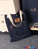 牛仔包 原創時尚女包個性側背休閒包牛仔布包小清新學生學院書包購物袋潮 寶貝 免運