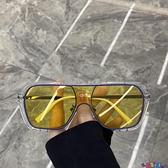 太陽眼鏡 超酷不規則方框一體大框太陽鏡蹦迪眼鏡素顏網紅街拍墨鏡女圓臉潮 寶貝 免運