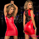 VIVI情趣用品 性感睡衣 情趣商品膠衣 虐戀精品CICILY 火紅熱浪 性感美背 塗膠漆皮性感彈力緊身裙