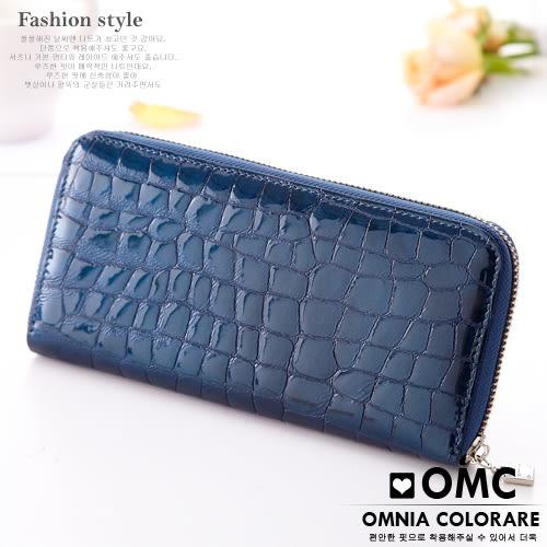 OMC - 真皮歐式浪漫壓紋果凍皮質感長夾 - 深海藍