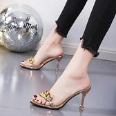 高跟涼鞋 拖鞋女時尚外穿半拖2021夏季新款性感小仙女透明細跟百搭 百分百