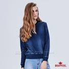 BRAPPERS 女款 彈性牛仔針織長袖上衣-藍