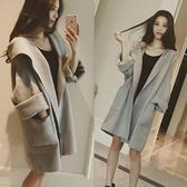 韓版純色學院風寬松連帽中長款羊毛呢子外套風衣大衣女潮
