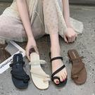 套趾鞋.MIT韓版夏日百搭編織系帶一字平底拖鞋.白鳥麗子