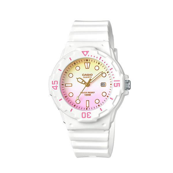 CASIO 漸層粉色白色膠帶防水兒童錶 LRW-200H-4E2 公司貨 防水100m   名人鐘錶高雄門市