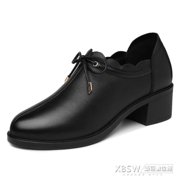 大東粗跟皮鞋高跟鞋女鞋2020年新款秋季黑色中跟深口單鞋秋款『新佰數位屋』