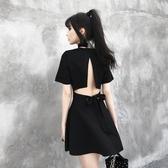 夜店性感女裝夜場連身裙顯瘦氣質露背2019新款夏季酒吧V領小黑裙