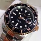 星晴錶業-ROMAGO雷米格男錶,編號RM00001,42mm黑, 金色錶殼,銀色, 金色錶帶款