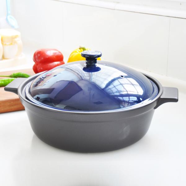 陸寶陶鍋 樂彩方耳煎炒鍋 4L 寶石藍
