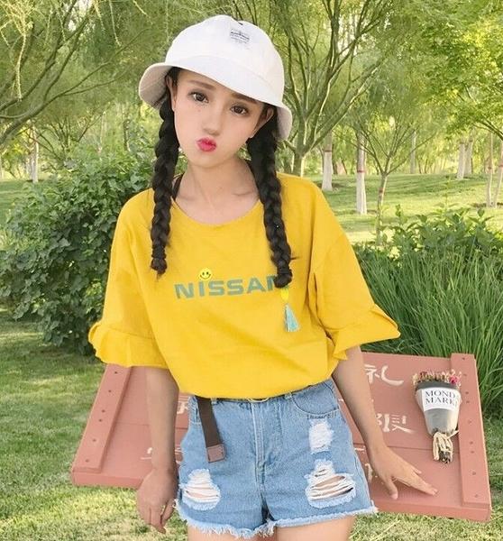 [超豐國際]夏裝短袖小清新小菠蘿笑臉荷葉袖體恤上衣學生女圓領(1入)