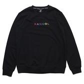 KANGOL 大學T 黑 彩色刺繡 後背大LOGO 袋鼠 棉 情侶 男女 (布魯克林) 6055100120
