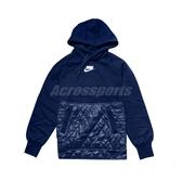 Nike 長袖T恤 NSW Fleece Pullover Hoodie 藍 白 女款 帽T 運動休閒 【PUMP306】 CJ6254-492