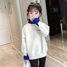 女童內刷毛加厚長袖衛衣 洋氣中大童正韓兒童保暖上衣