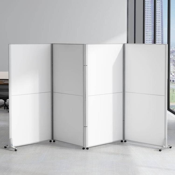 屏風 辦公室移動屏風隔斷現代簡約移動折疊活動屏風高隔斷板式推拉隔墻 源治良品