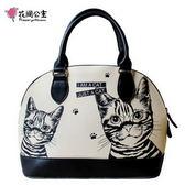花間公主 貓咪可愛貝殼包原創時尚潮流斜側手提包