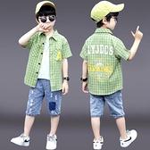 男童襯衫-夏日系兒童襯衫短袖2021新款上衣帥氣男童格子襯衣薄款洋氣大童潮
