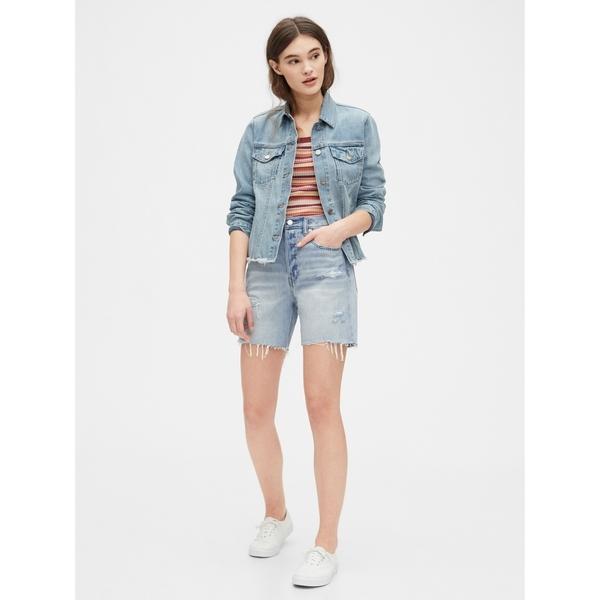Gap女裝淺色水洗破洞牛仔短褲573697-做舊淺靛藍