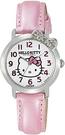 Citizen 【日本代購】凱蒂貓 Hello Kitty 指針顯示皮革錶帶腕錶 粉色