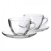 透明二入花茶杯盤組