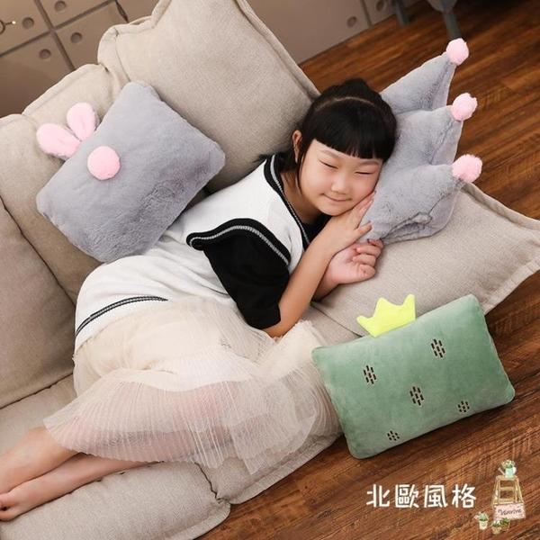 暖手抱枕 卡通暖手捂抱枕枕頭插手捂毛絨午睡手枕冬季保暖插手靠枕活動禮品