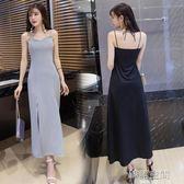 露背V領抹胸性感吊帶洋裝女裝修身顯瘦開叉長裙潮 韓語空間