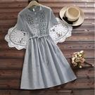 *ORead*森女條紋繡花連衣身裙(藍色條紋S~2XL)